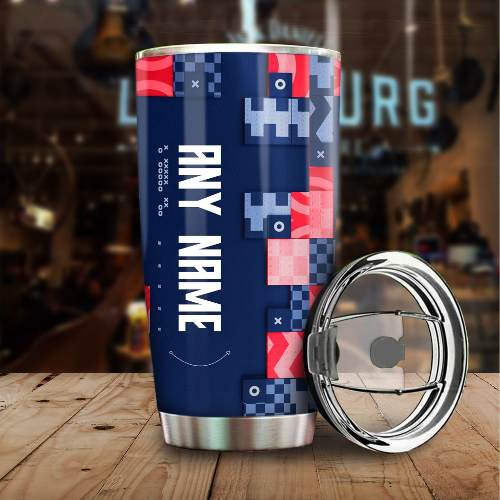 NFL Custom Name New England Patriots tile style Stainless steel Tumbler