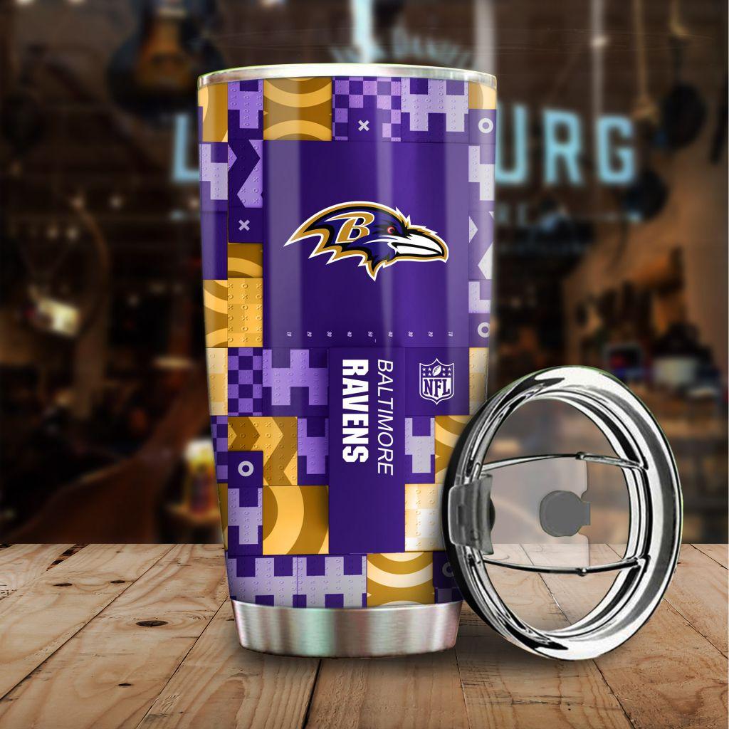 NFL Custom Name Baltimore Ravens tile style Stainless steel Tumbler