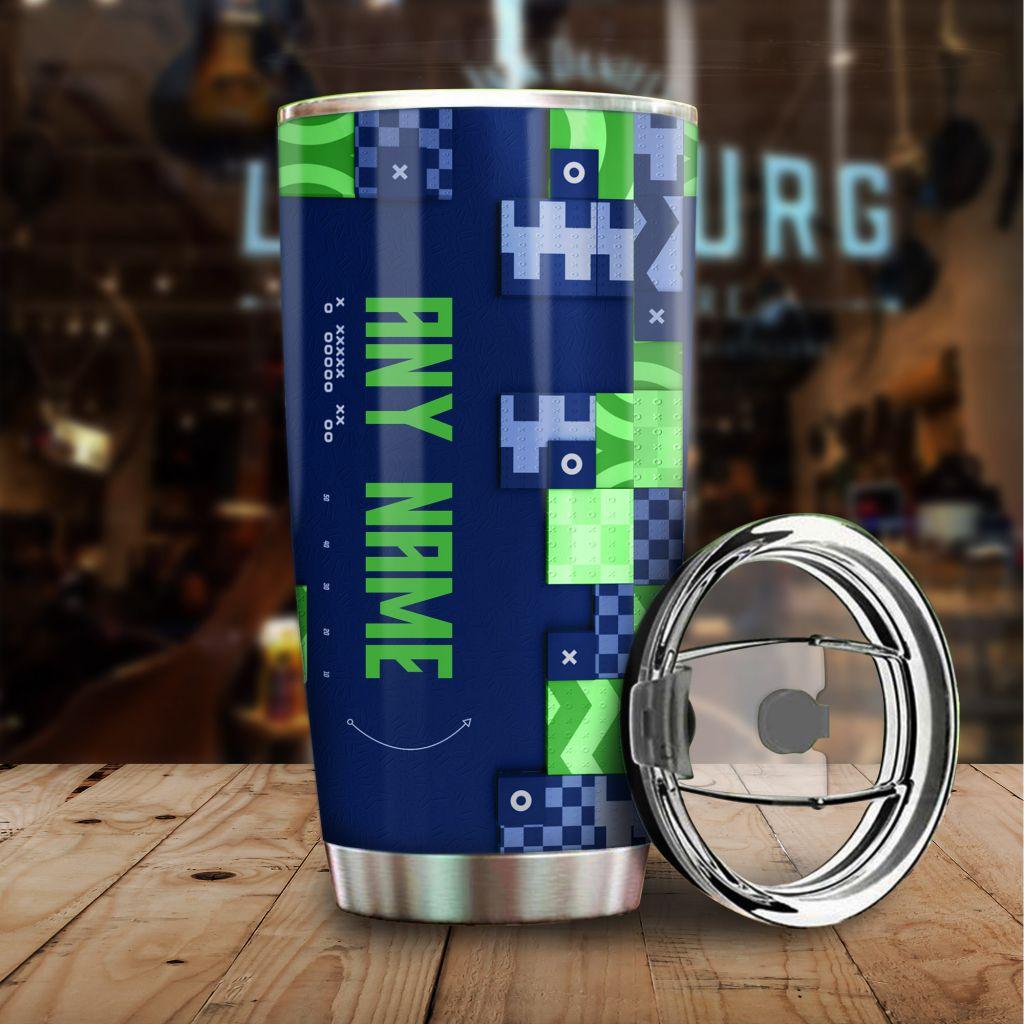 NFL Custom Name Seattle Seahawks tile style Stainless steel Tumbler