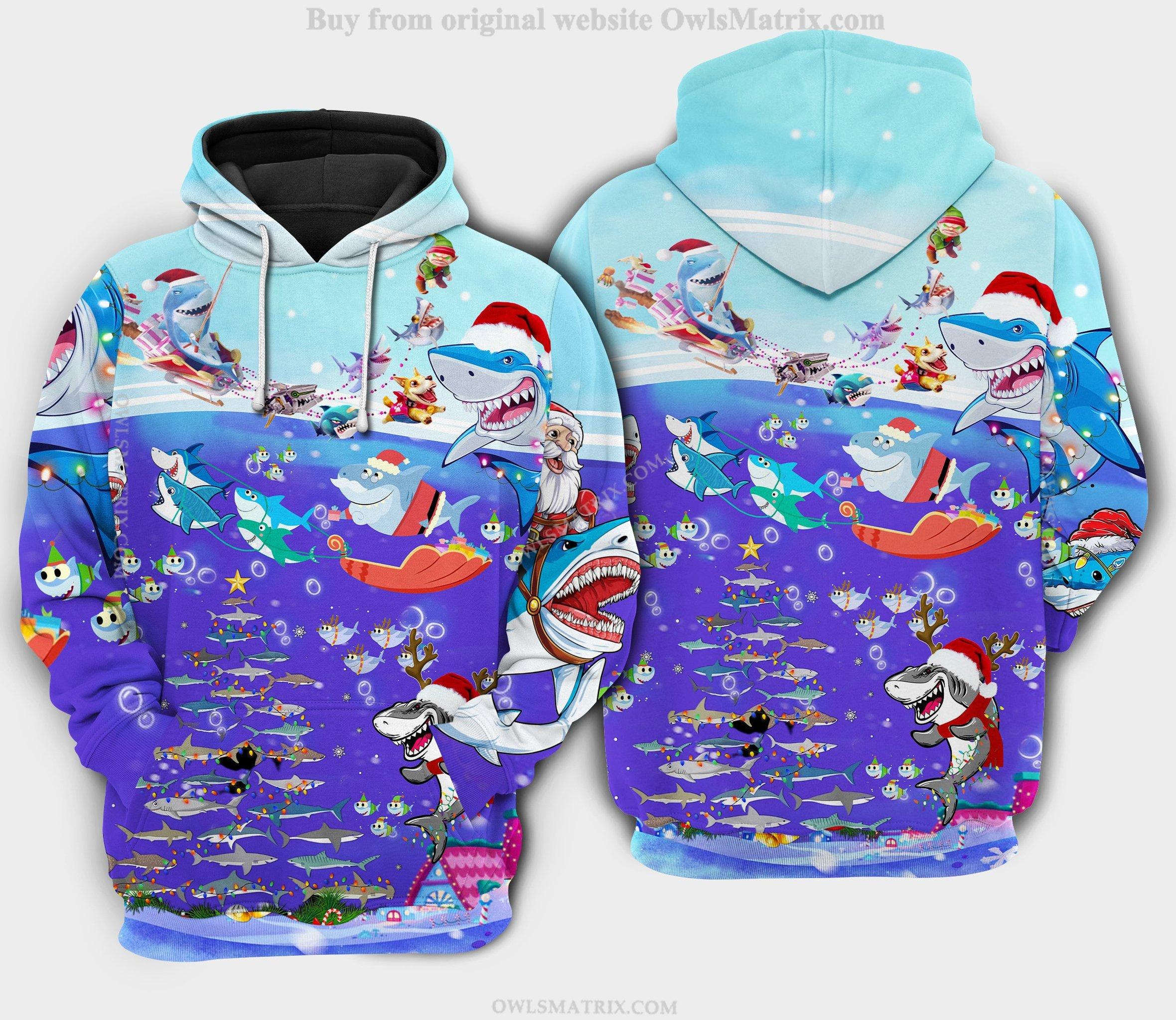 Christmas santa shark brings gifts to ocean Hoodie