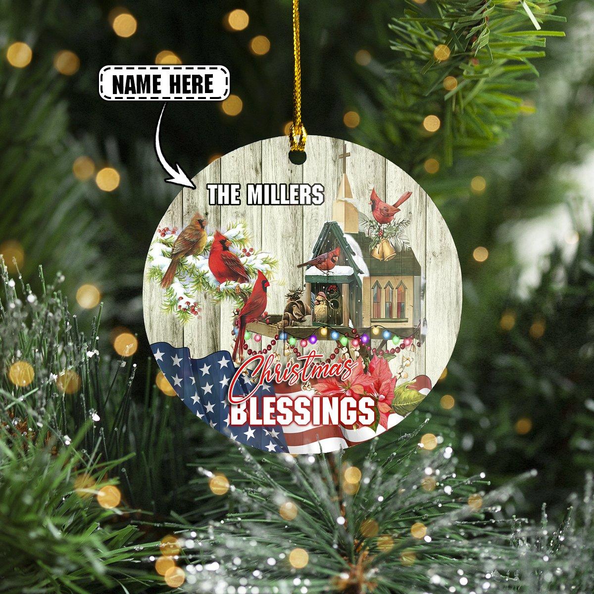 Custom Name 2-Sided ORNAMENT HUMMINGBIRD Christmas Blessing