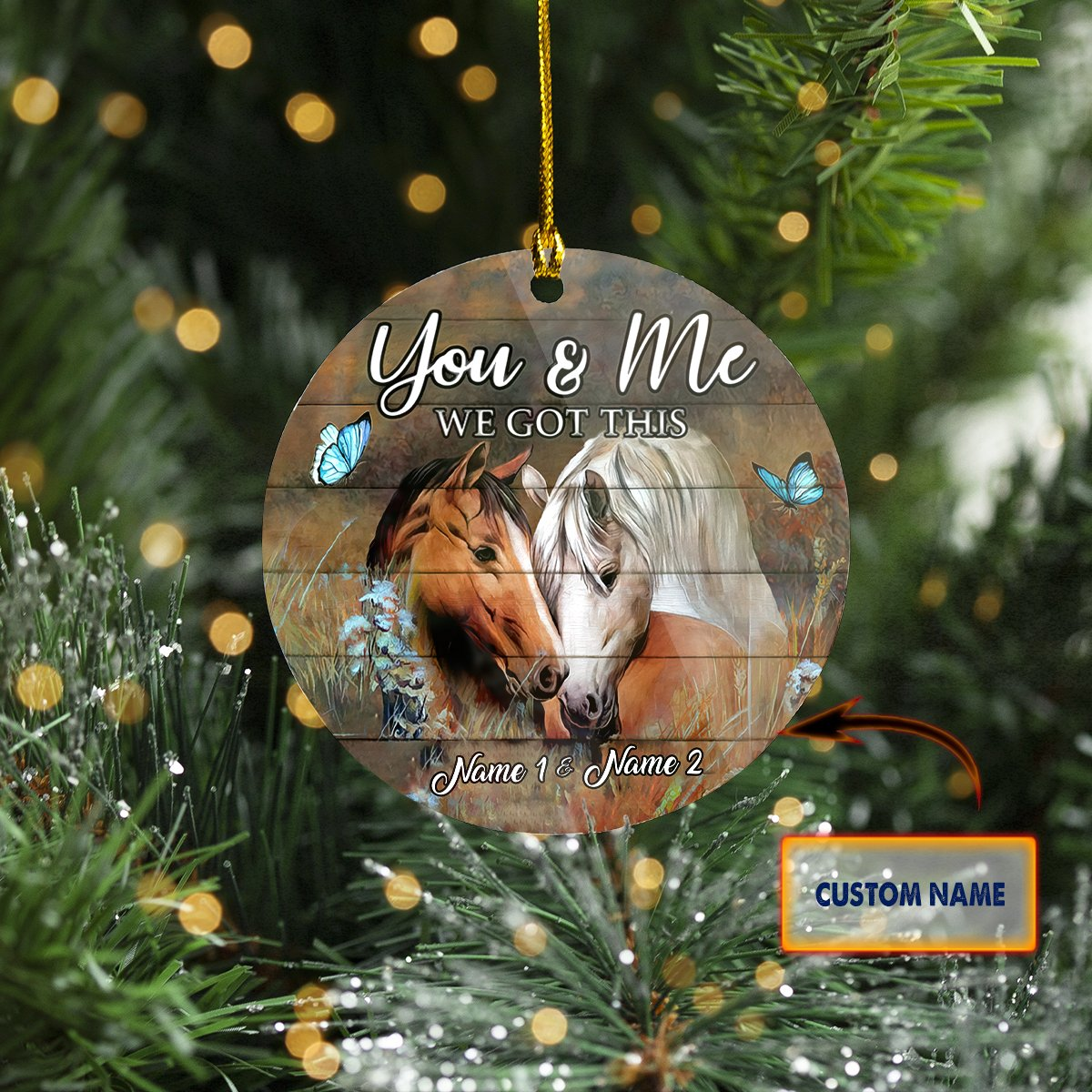CUSTOM Name 2-Sided ORNAMENT HORSE COUPLE We got this