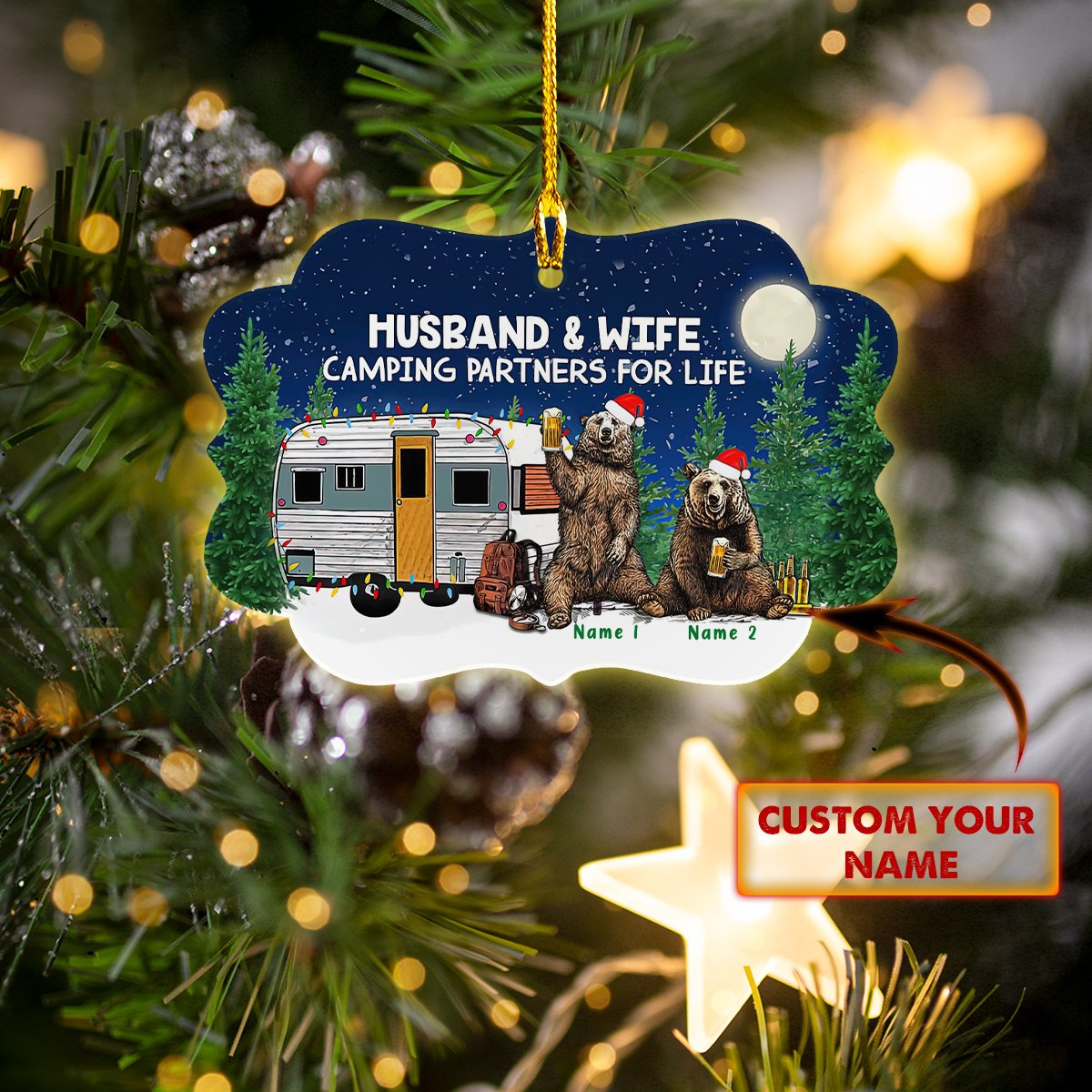 Custom Name Husband and wife Camping partner for life lovely bear ornament