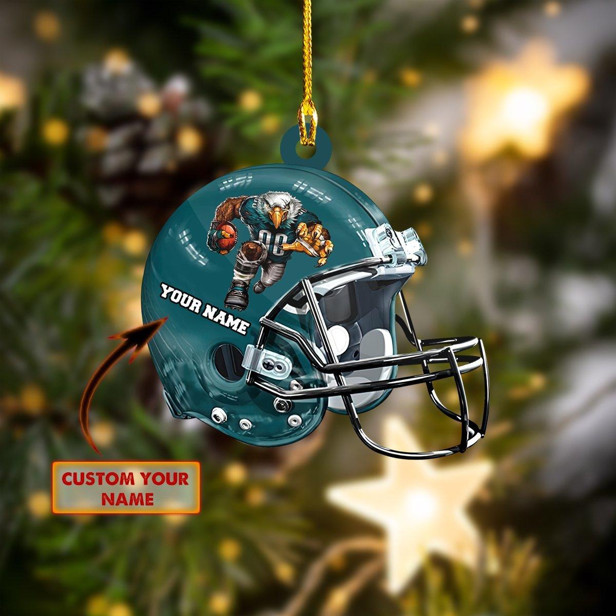 Custom Name Philadelphia Eagle Nfl Christmas Ornament