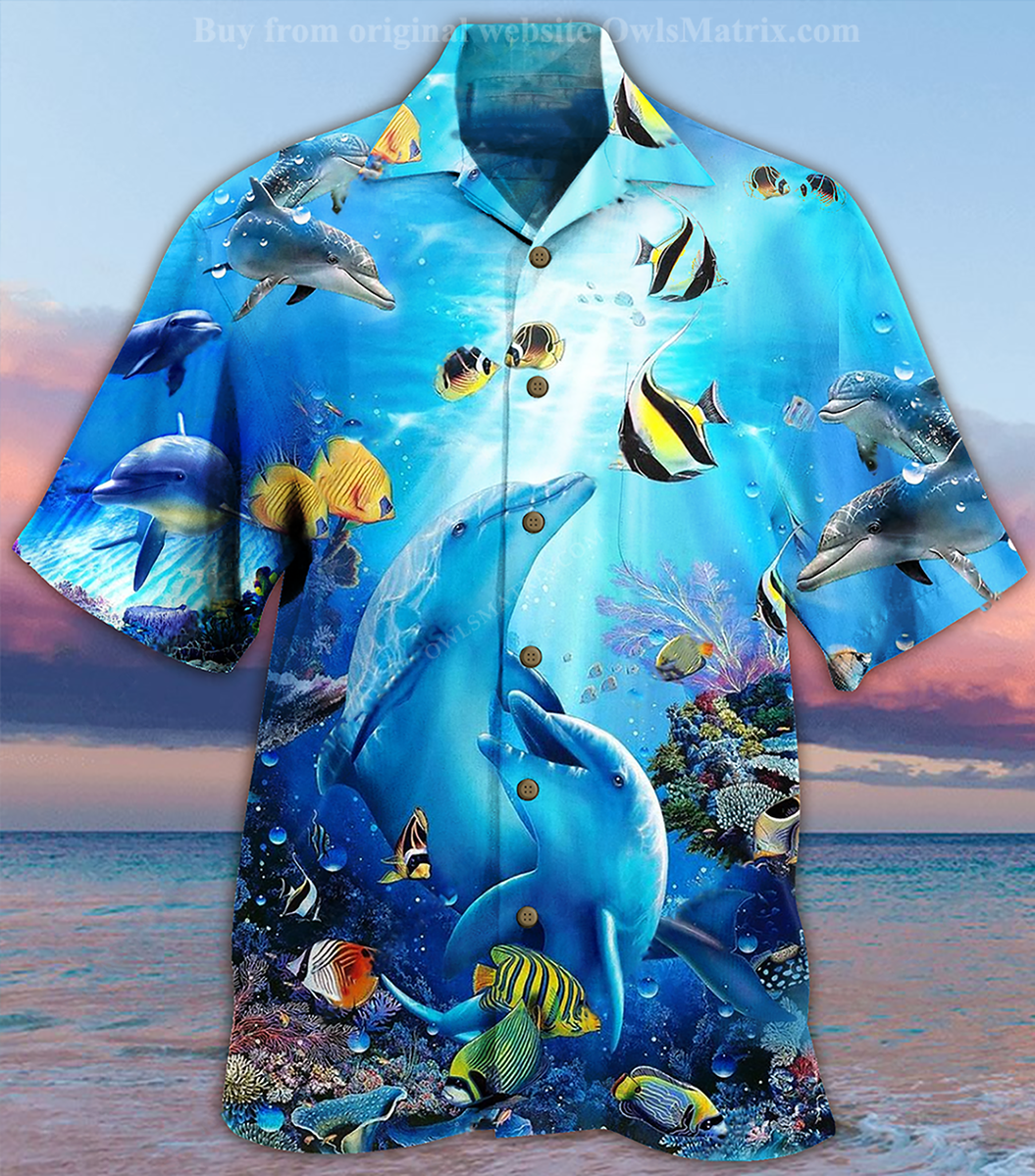 Amazing Dolphin In the heart of ocean Printed Hawaiian Shirt