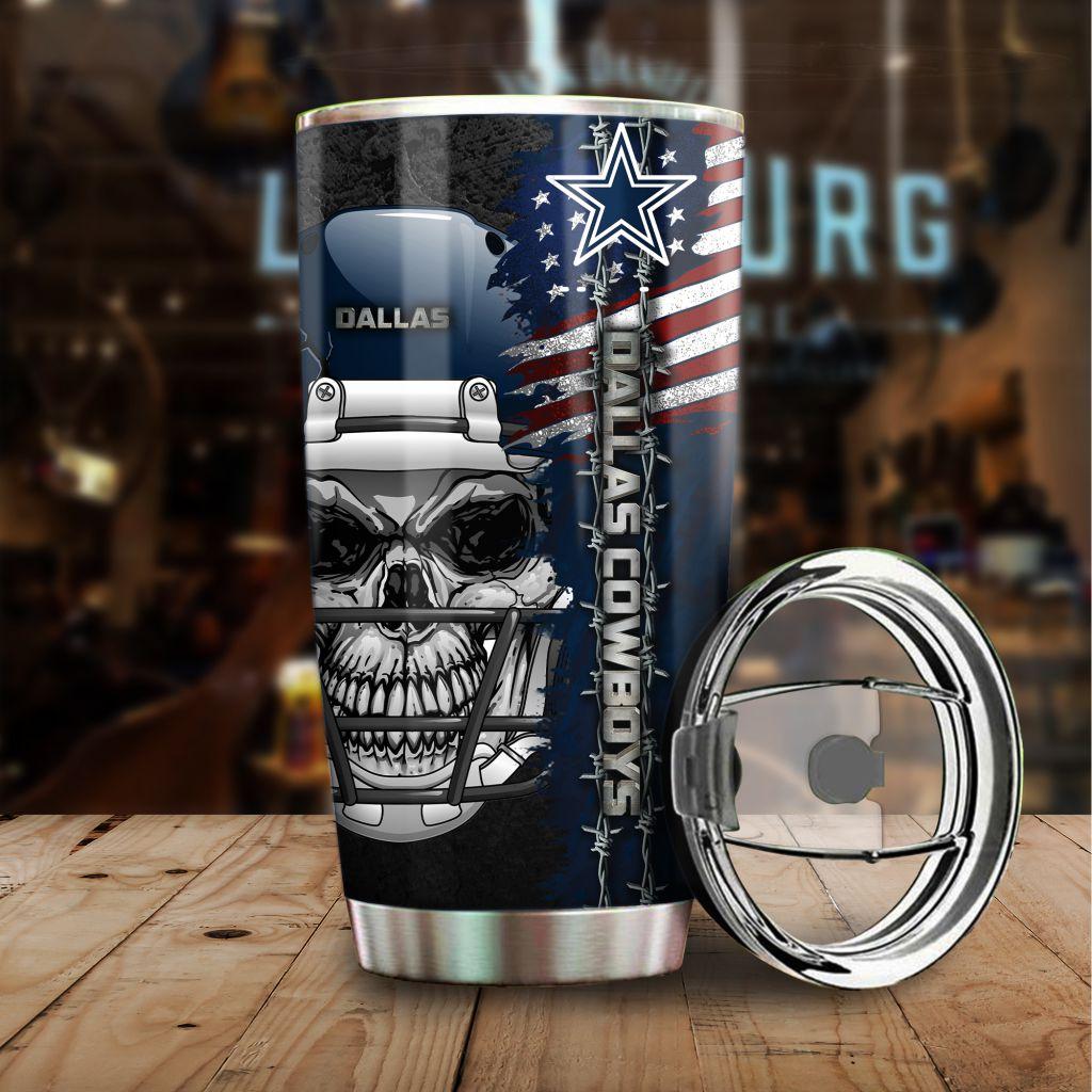 NFL Dallas Cowboys Skull US Flag Tumbler Cup