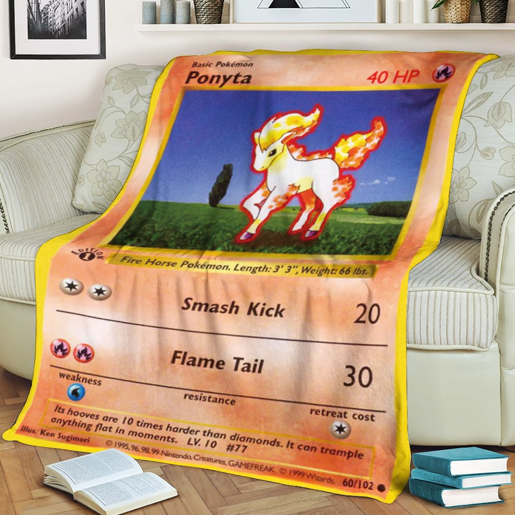 Pokemon Ponyta Fire Horse Fleece Blanket