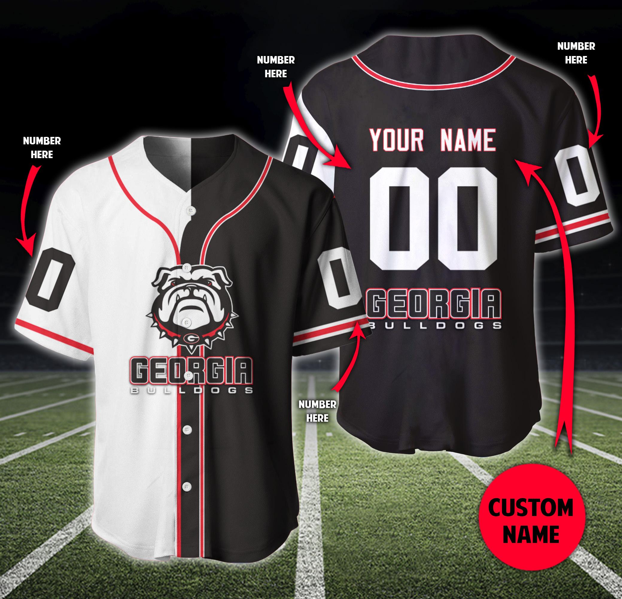 Georgia Bulldogs White Face Custom Name And Number Baseball Shirt