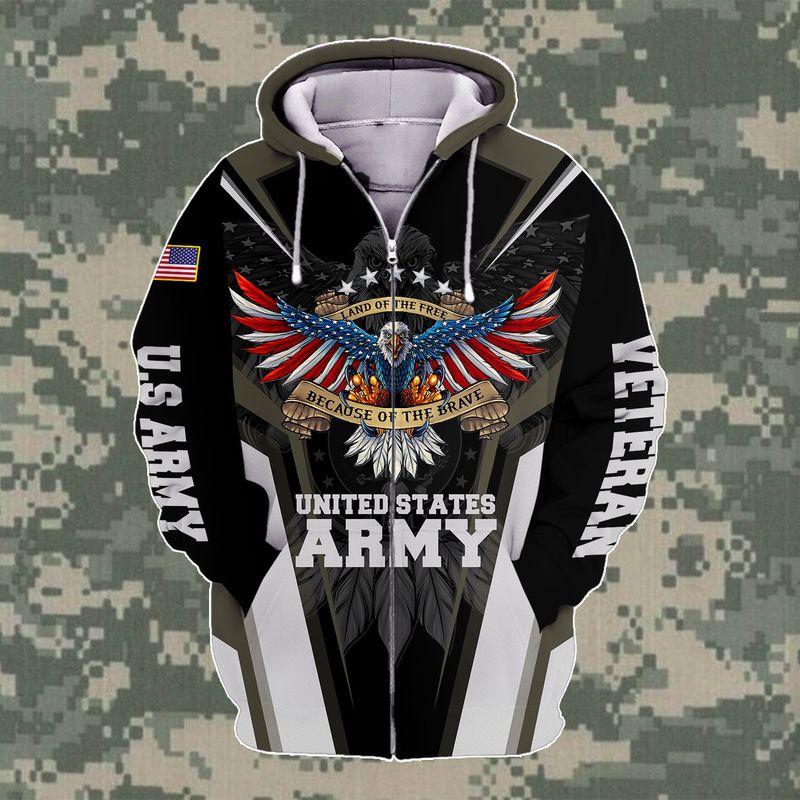 US ARMY VETERAN RETIRED EAGLE LAND OF FREE HOODIE 3D