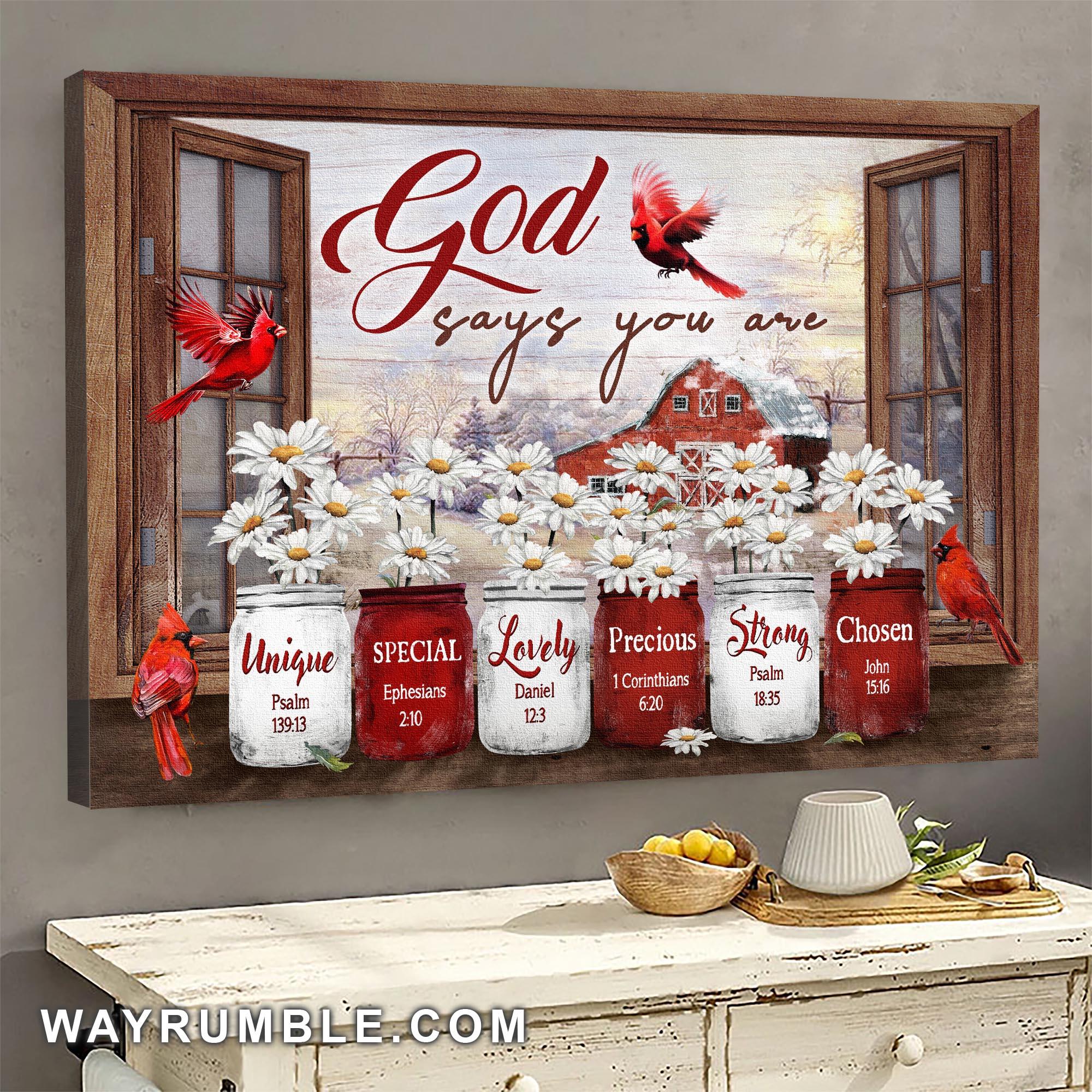 Jesus Cardinal and Daisy Window Frame Canvas
