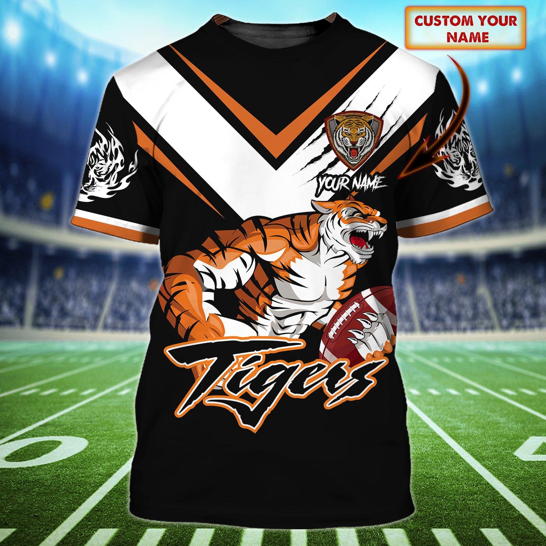 Personalized NRL Wests Tigers black version 3D Tshirt