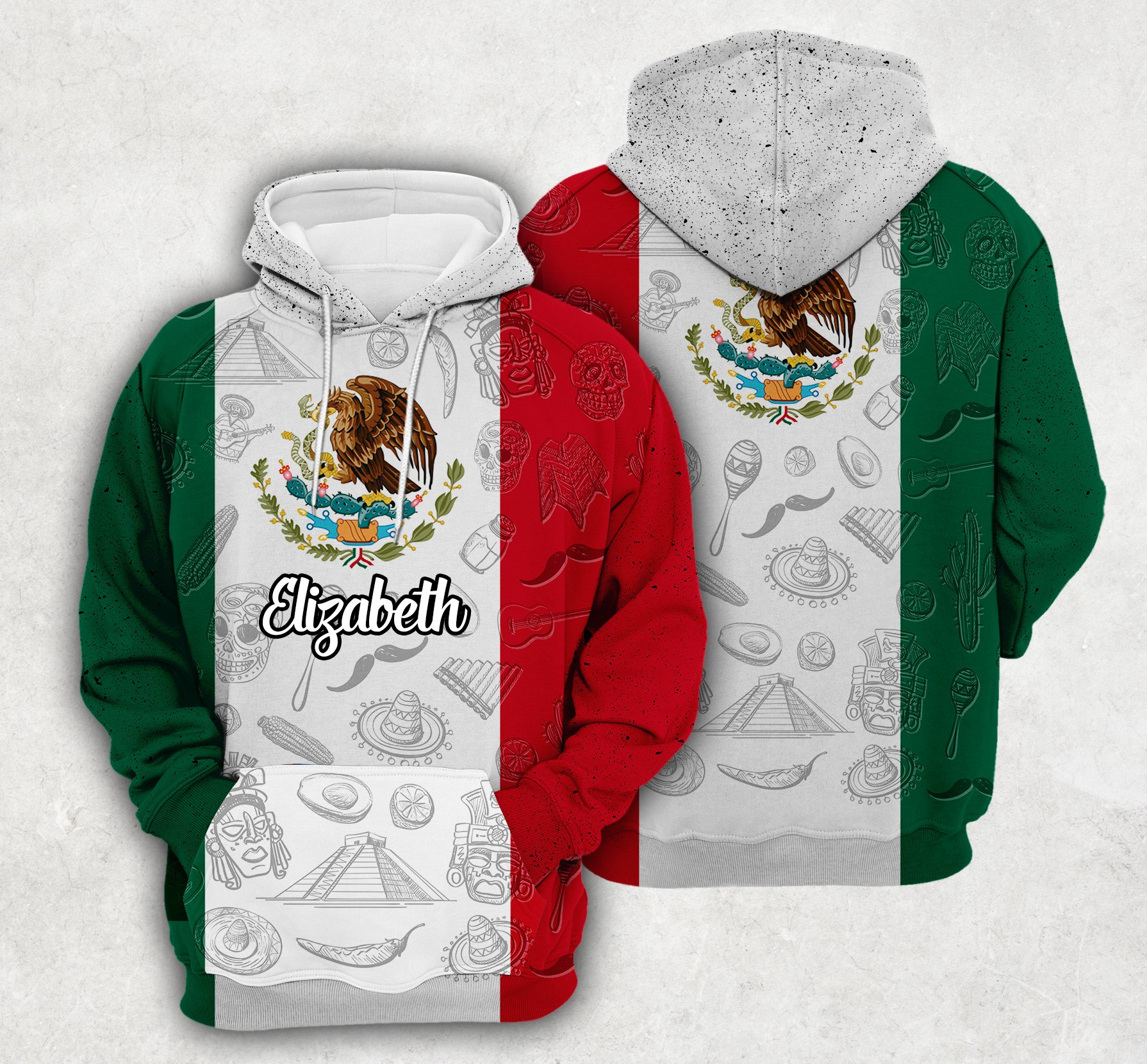 Mexico Flag And Symbol Custom Hoodie