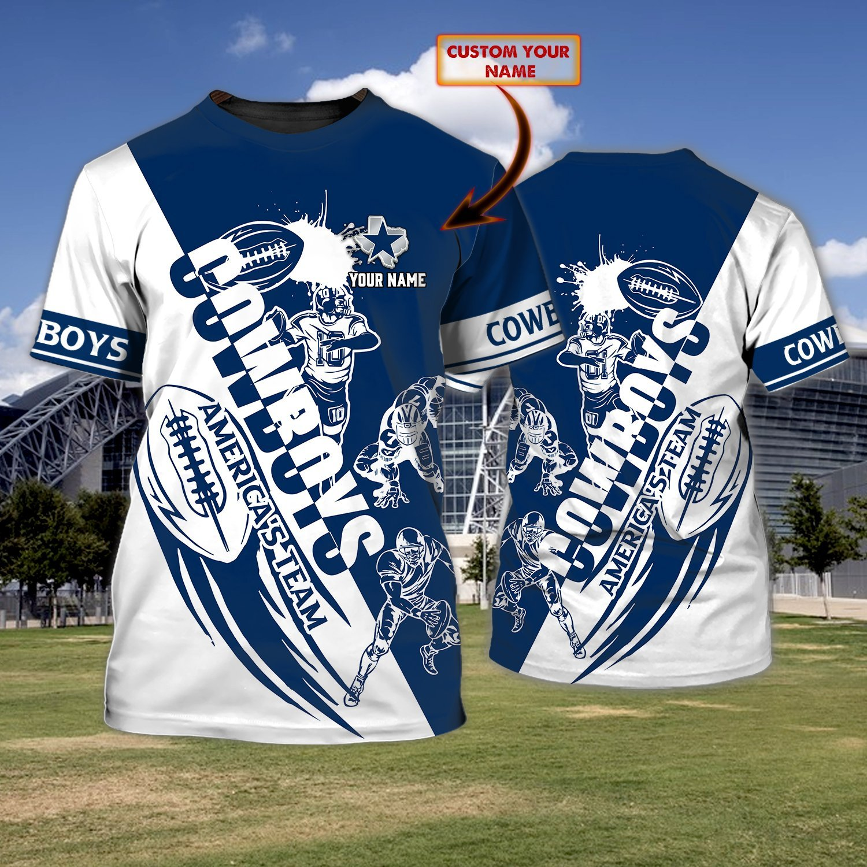 Custom Name NFL Dallas Cowboys White and Navy 3D T-shirt