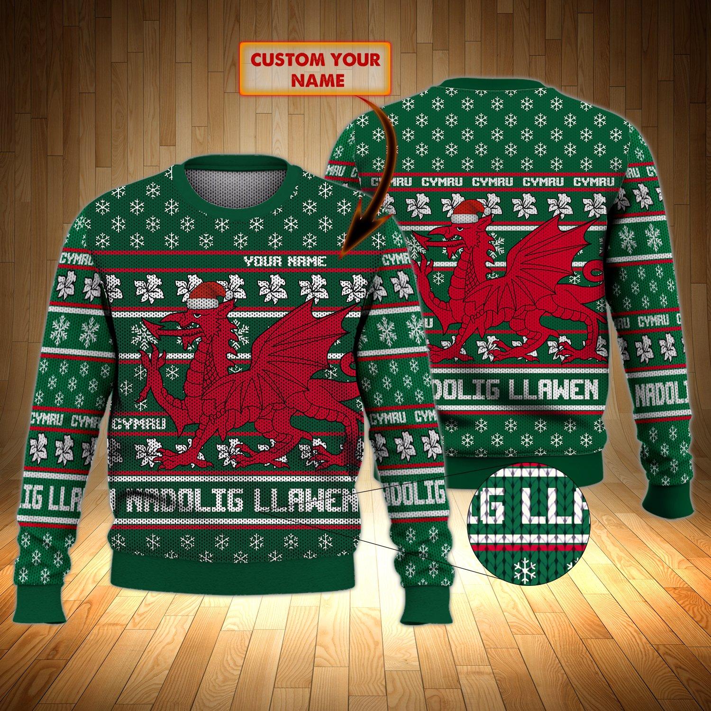 Cymru Nadolig Llawen Christmas Personalized ugly sweater