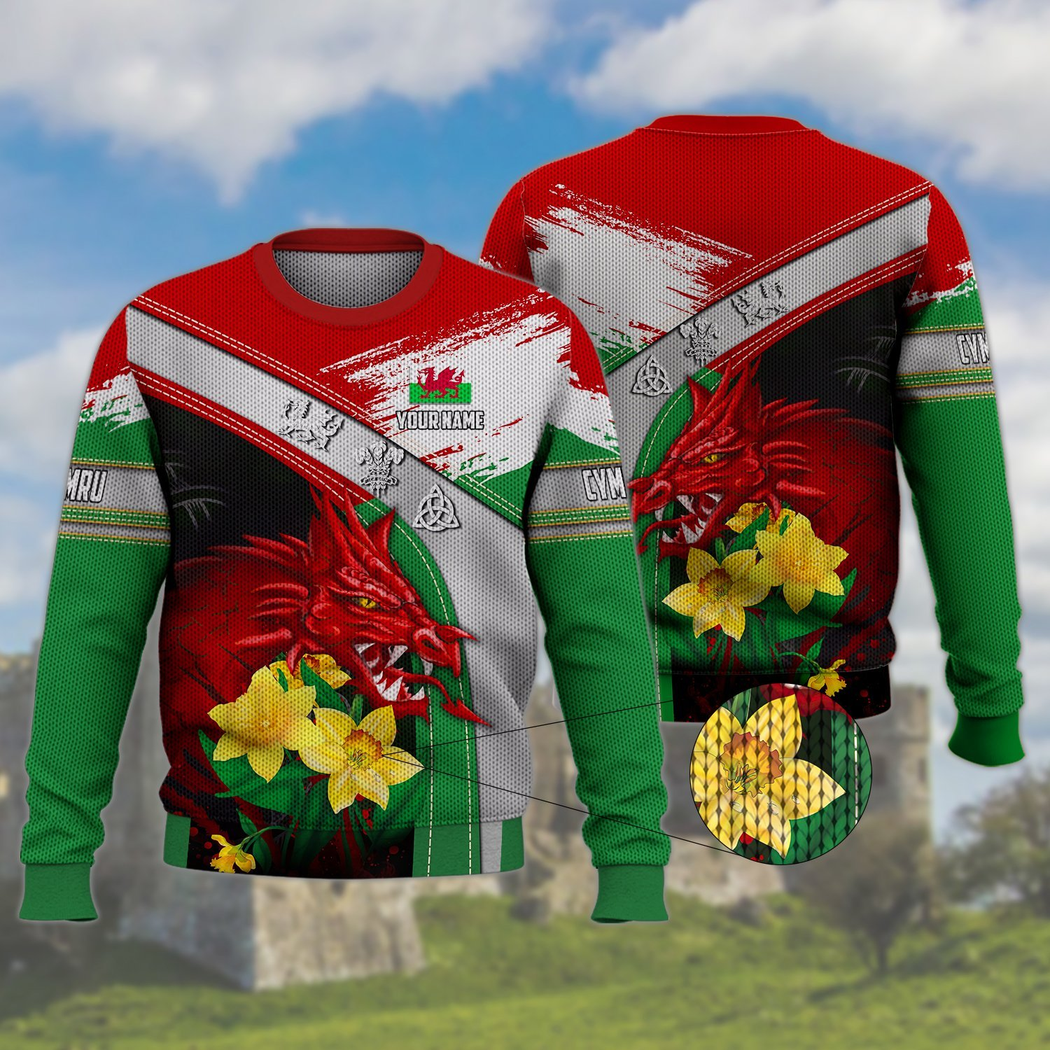 WALES RED DRAGON WITH FLOWER CUSTOM ULGY SWEATER