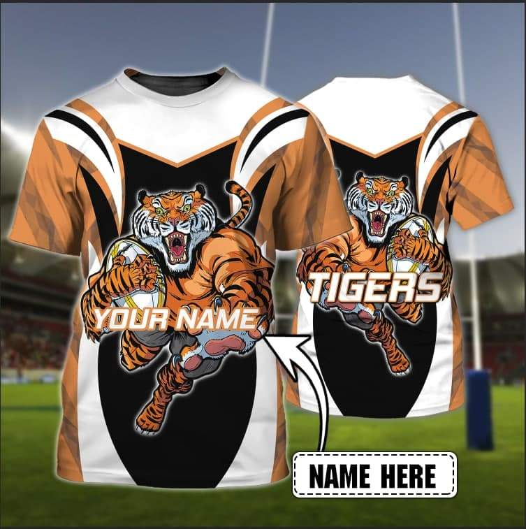 Personalized NRL Wests Tigers Full Printed 3D Tshirt for fans