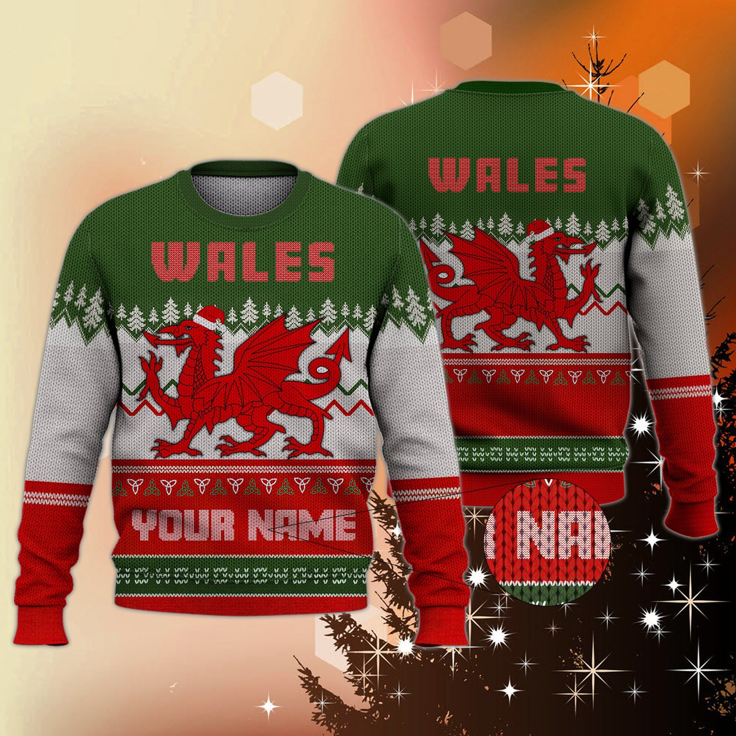 PERSONALIZED WALES CHRISTMAS UGLY SWEATER