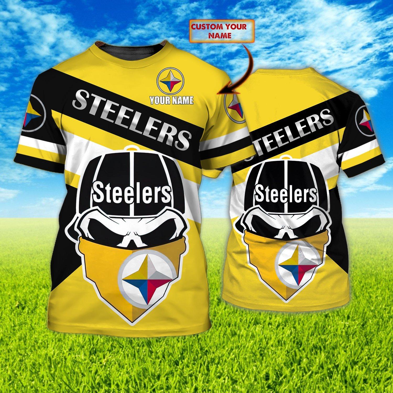 Custom Name NFL Pittsburgh Steelers skull mask 3D T-shirt