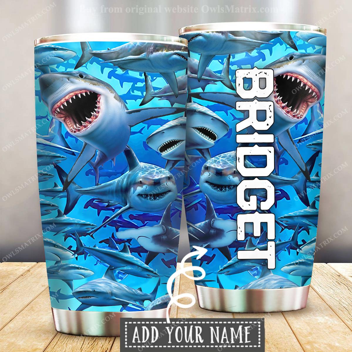 Shark Loves Ocean Custom Name Tumbler