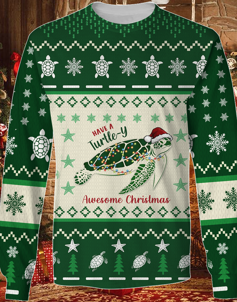 Have A Turtle-Y Awesome Christmas KNITTED Sweater