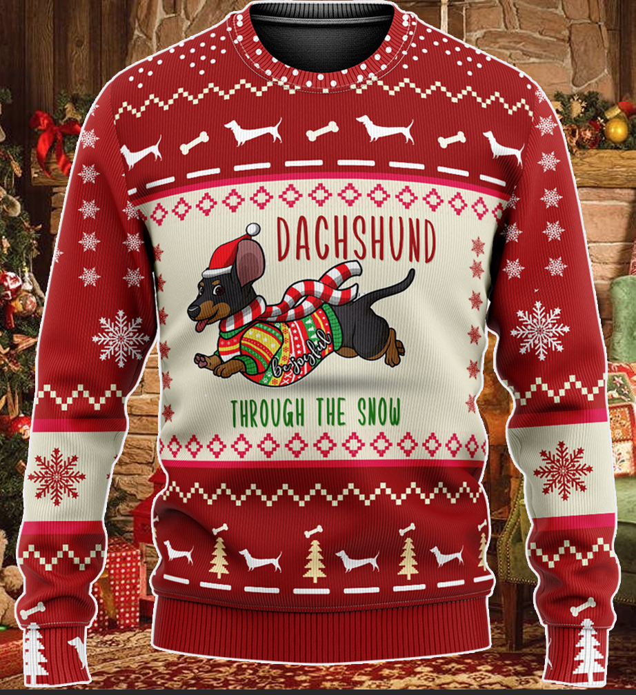 Dachshund Through The Snow Christmas KNITTED Sweater