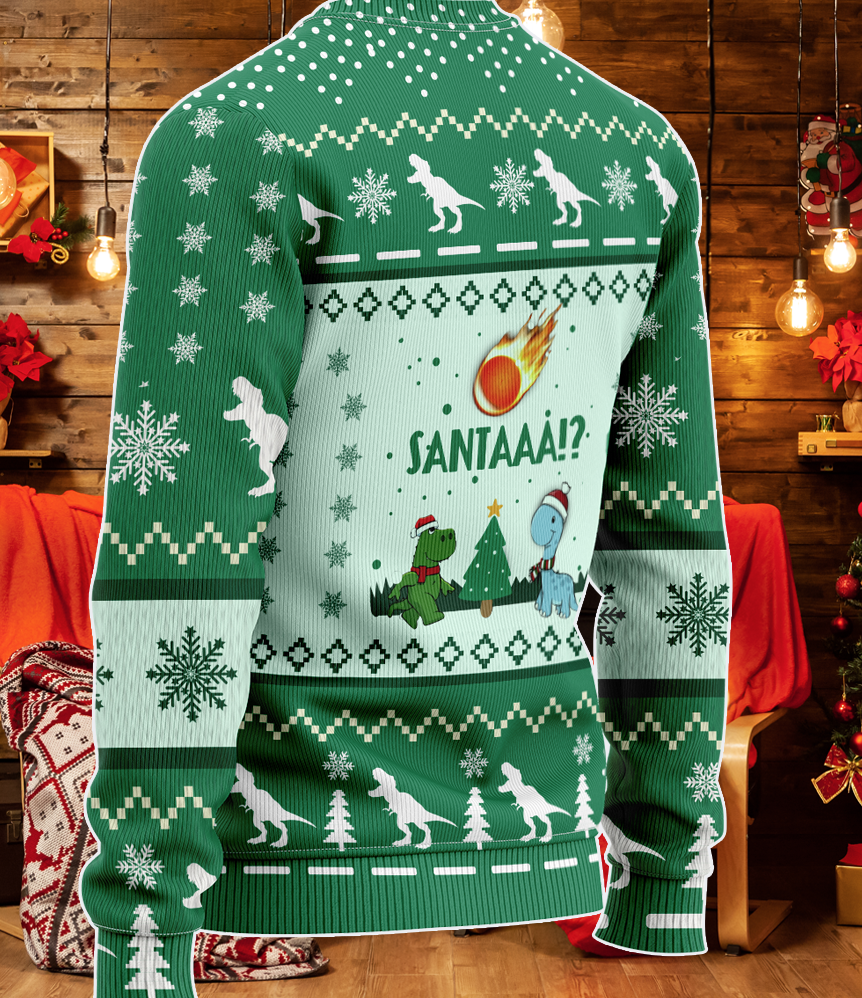 Santaaa meteors Funny Dinosaur Christmas 2021 KNITTED Sweater
