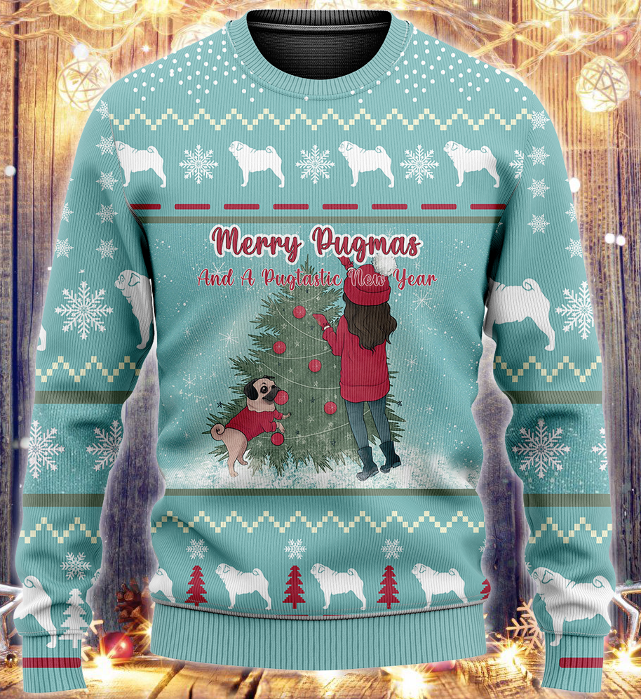 Merry Pugmas 2021 KNITTED Sweater