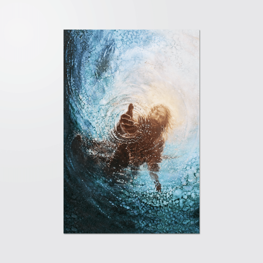 THE HAND OF GOD JESUS save from water poster and canvas