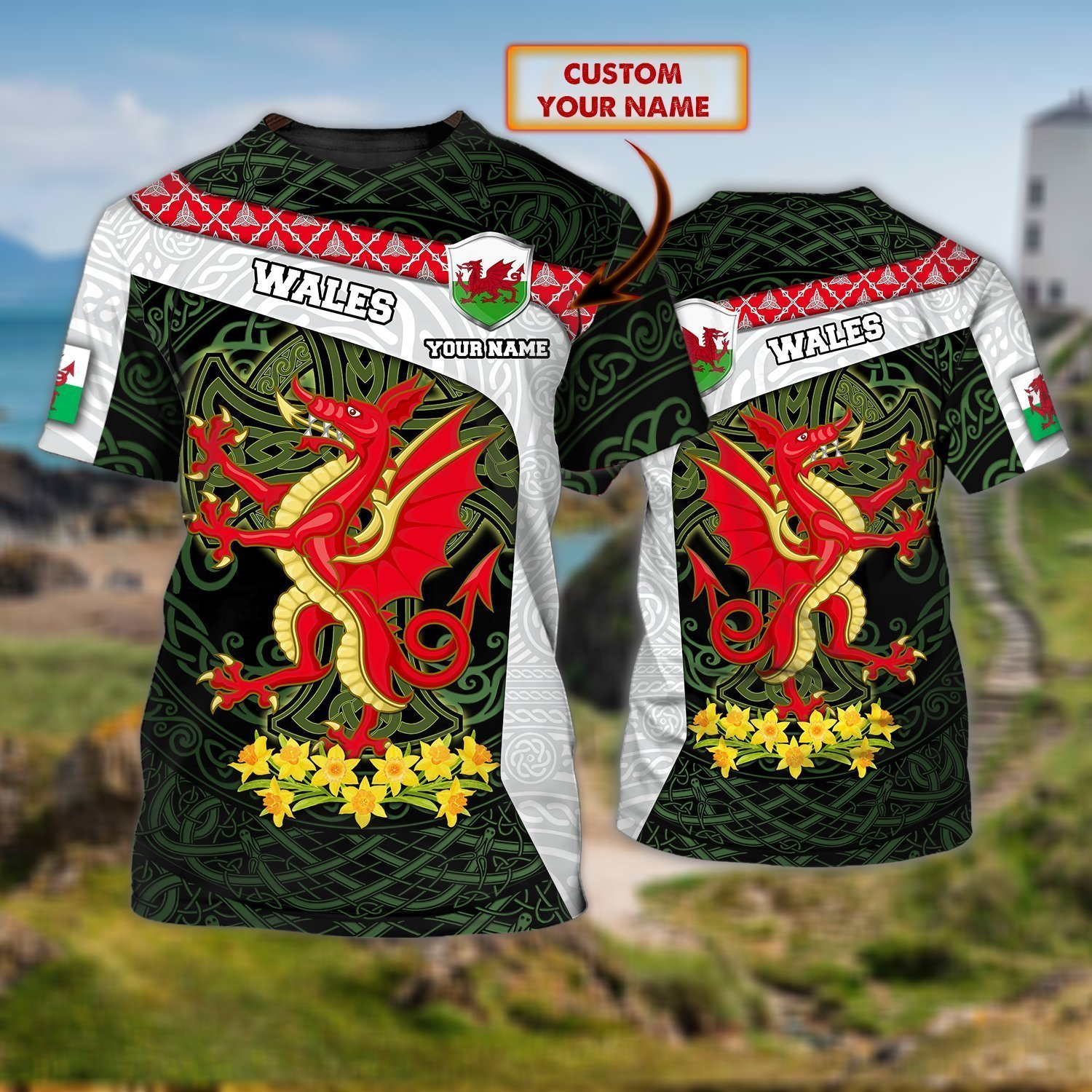 Wales Dragon Floral Pattern Personalized Name T Shirt
