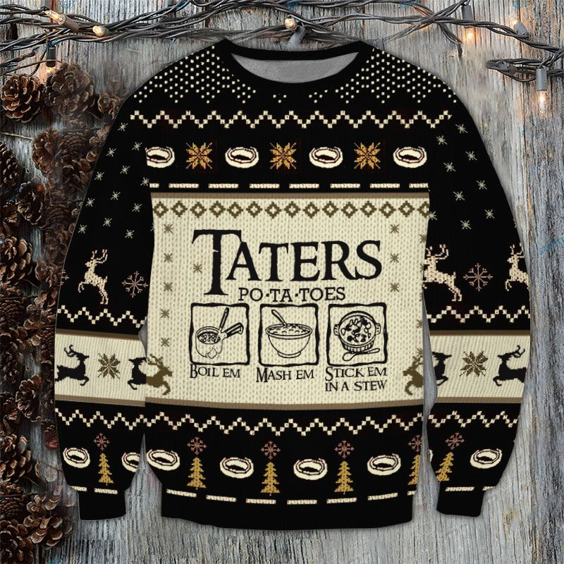 Taters Potatoes Ugly Sweater black version