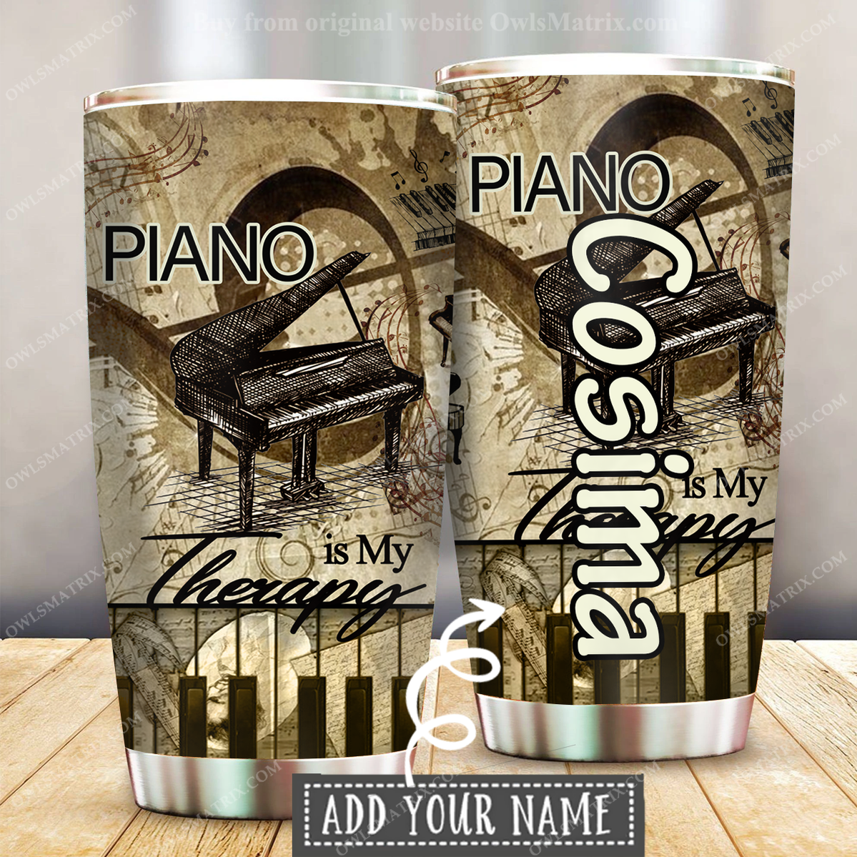 Music Piano Is My Therapy Custom Name Tumbler