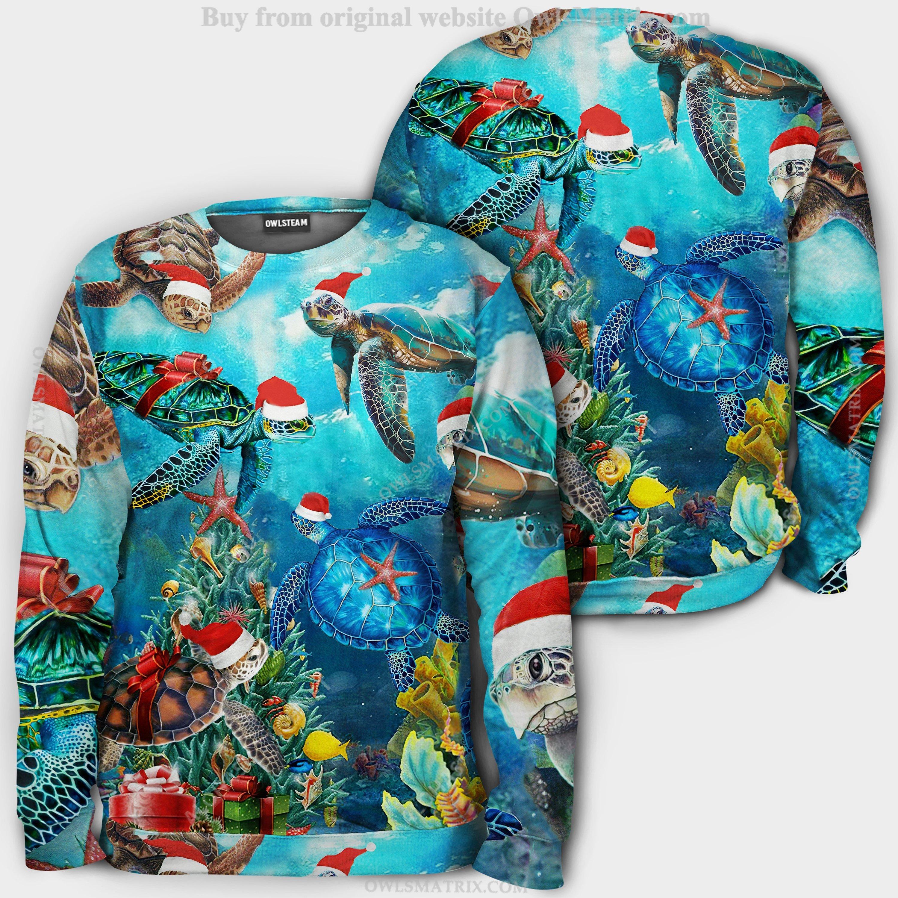 Christmas santa turtle to ocean Hoodie