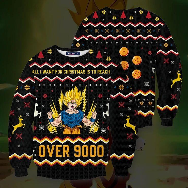 Ugly Christmas Sweater Goku Dragon Ball Over 9000 Xmas Gift