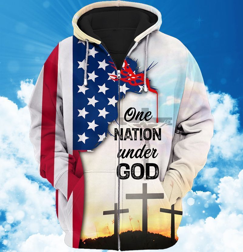 US Flag One Nation Under God Hoodie and T-shirt