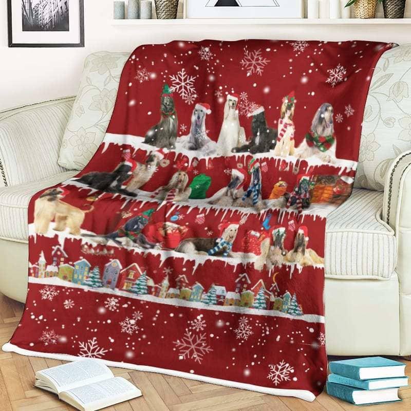 Afghan Hound Christmas Fleece Blanket for Dog Lover
