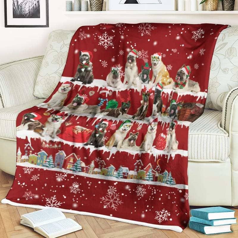 Akita Christmas Fleece Blanket for Dog Lover