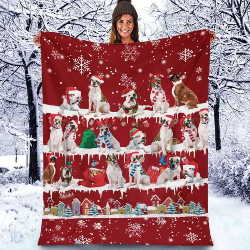 American Bulldog Christmas Fleece Blanket for Dog Lover