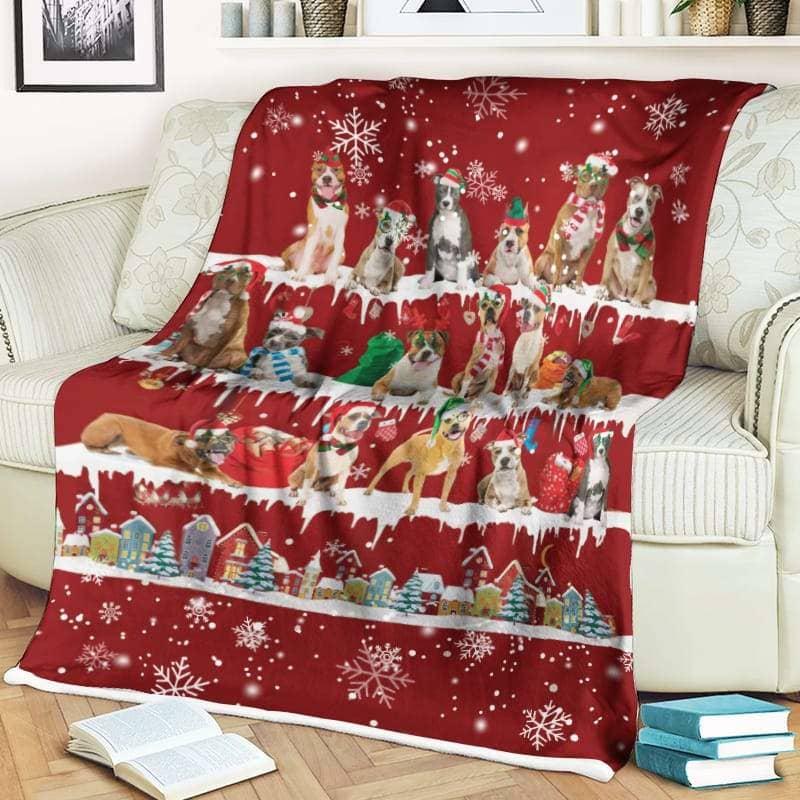 American Staffordshire Terrier Christmas Fleece Blanket for Dog Lover