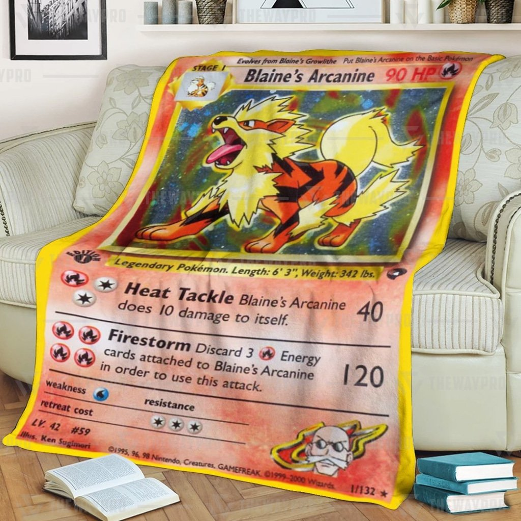 Pokemon Blaine's Arcanine Fleece Blanket