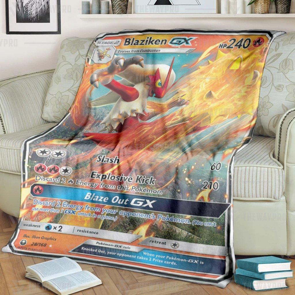 Anime Pokemon Blaziken Blaze Out GX Fleece Blanket