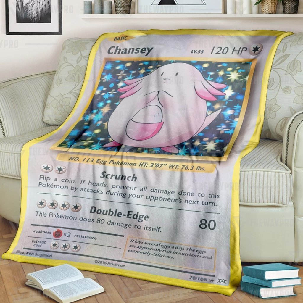 Pokemon Chansey Scrunch Fleece Blanket