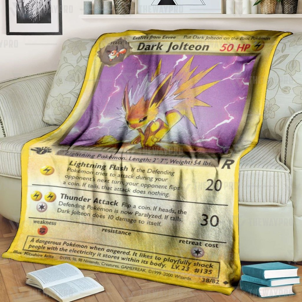 Pokemon Dark Jolteon Card 1st Edition Fleece Blanket