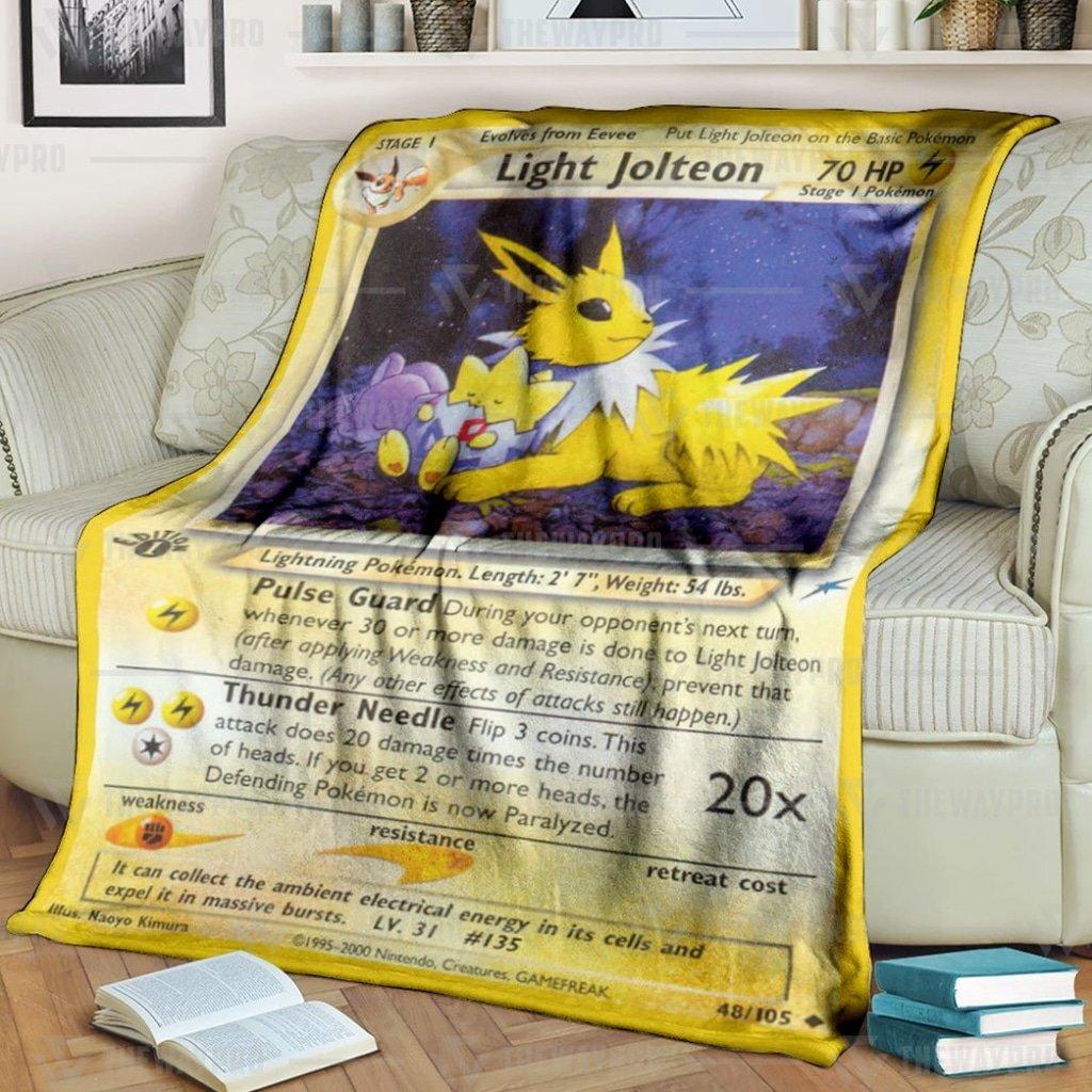 Pokemon Light Jolteon Card 1st Edition Fleece Blanket