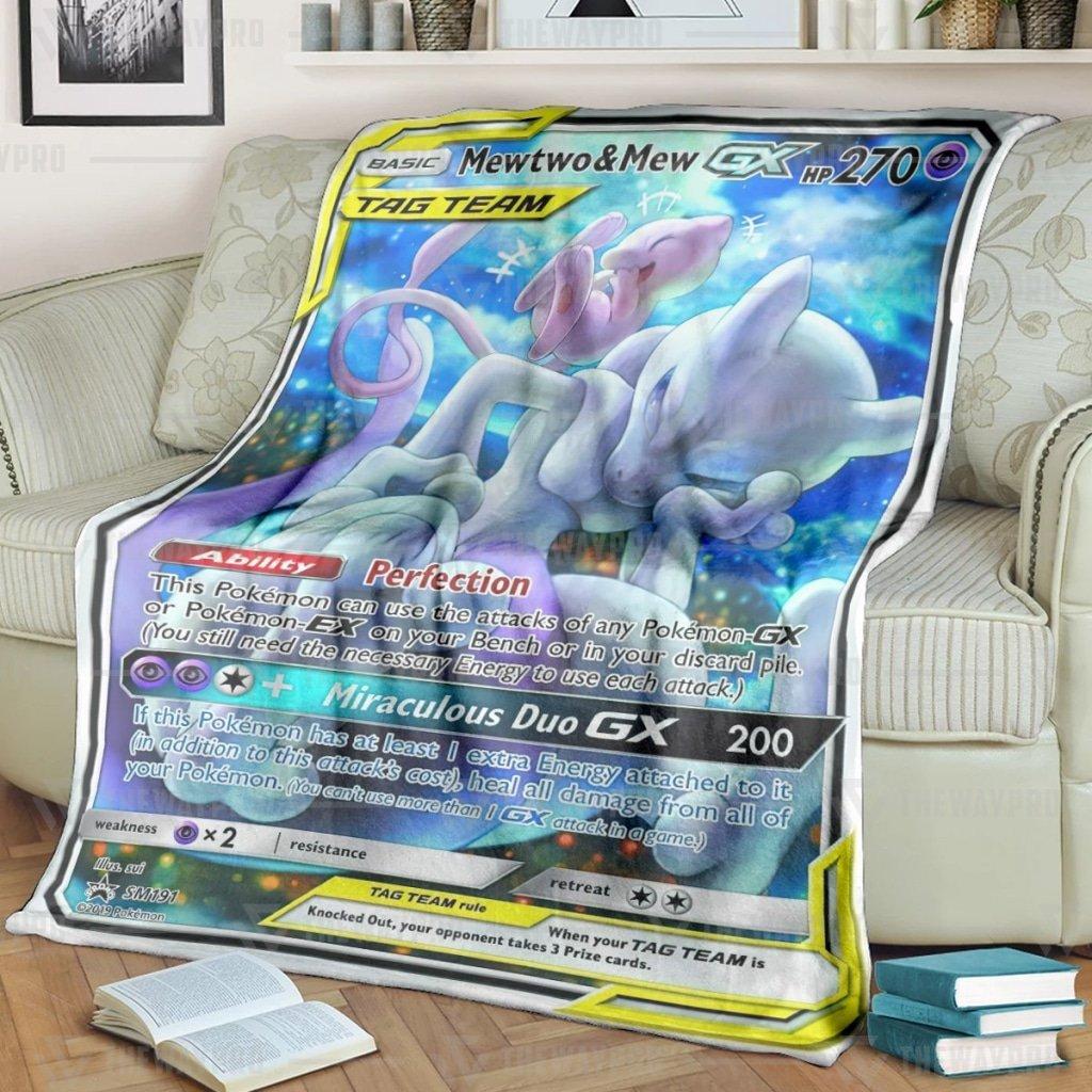 Pokemon Mew Two And Mew Miraculous Duo Fleece Blanket