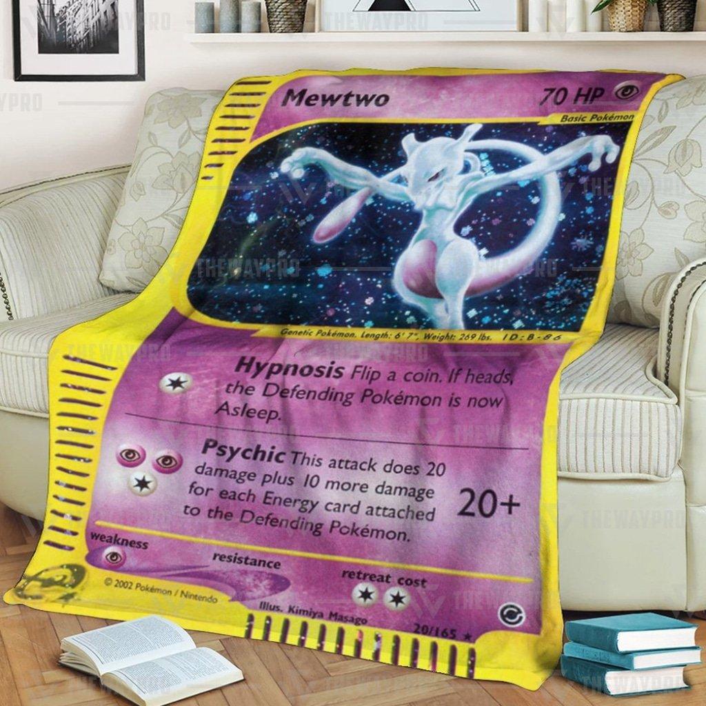 Anime Pokemon mystery Mewtwo Expedition Fleece Blanket