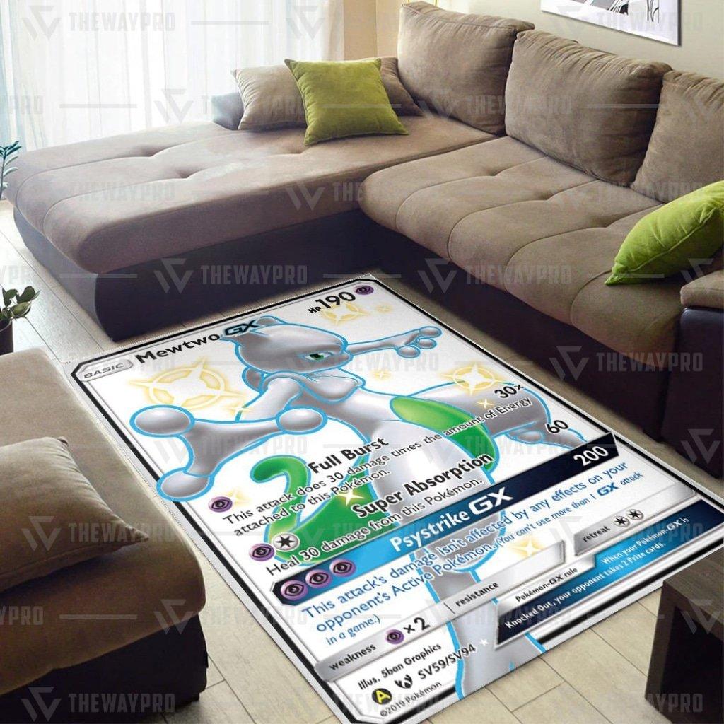 Anime Pokemon Mewtwo Shining Legends Psystrike GX white Carpet Rug