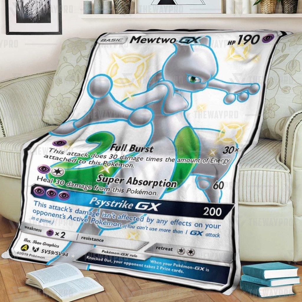 Anime Pokemon Mewtwo Shining Legends Psystrike GX white Fleece Blanket