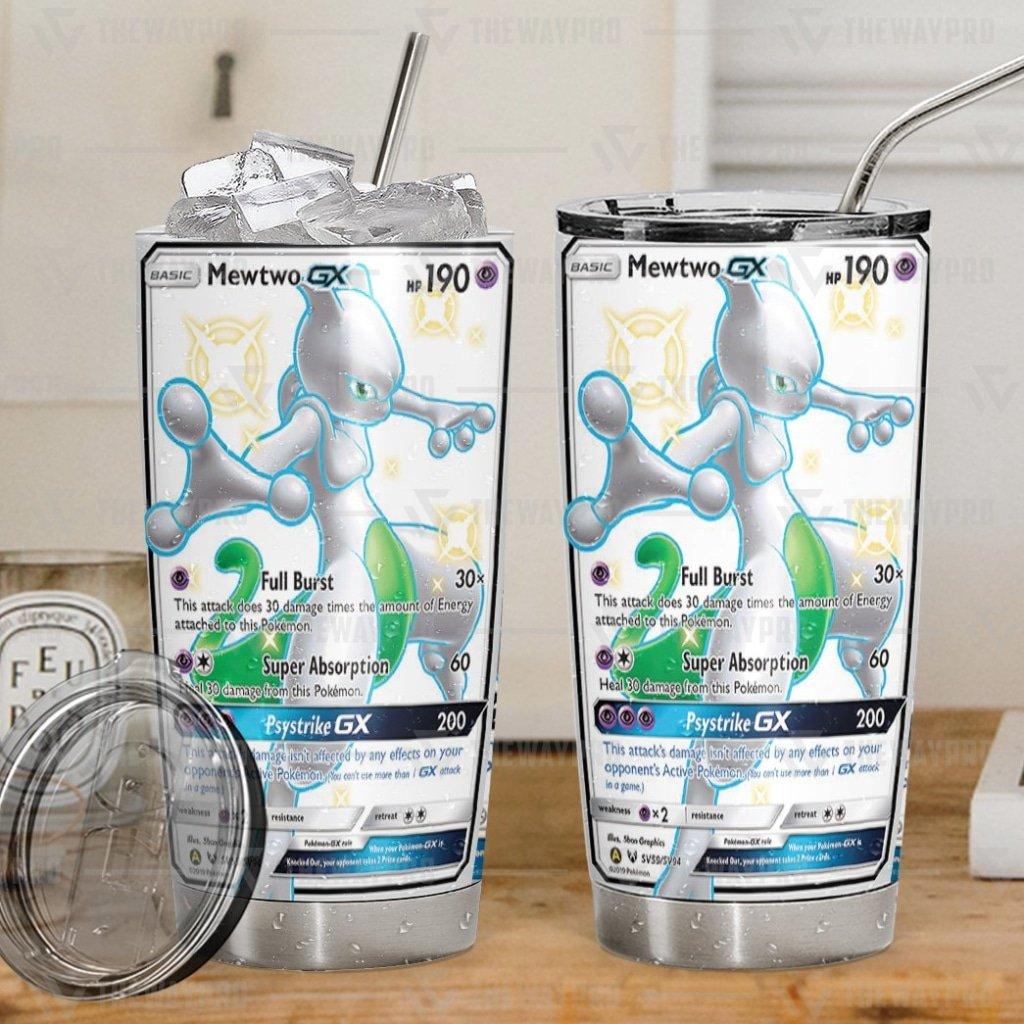 Anime Pokemon Mewtwo Shining Legends Psystrike GX white Tumbler Cup