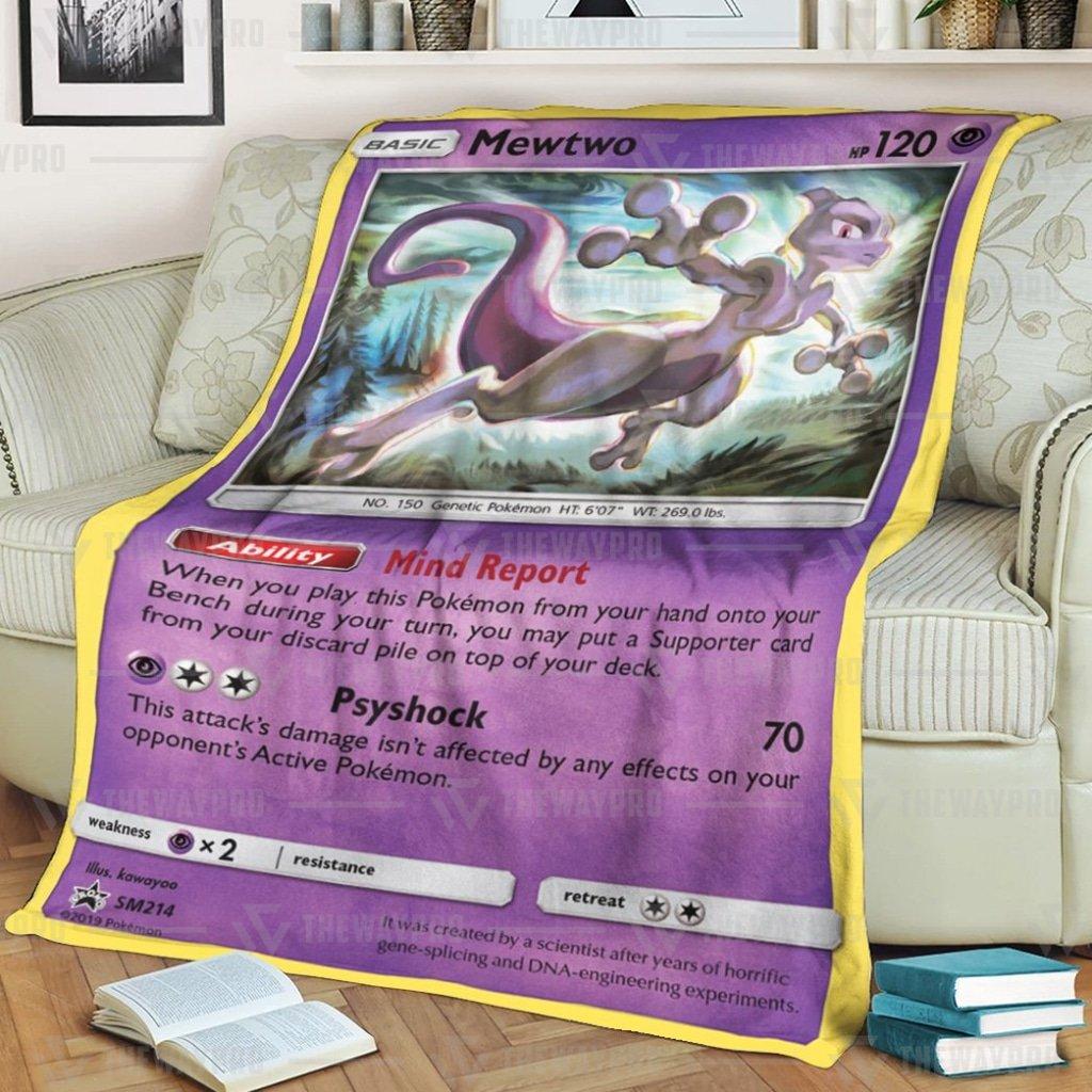 Anime Pokemon Mewtwo Sun And Moon Fleece Blanket