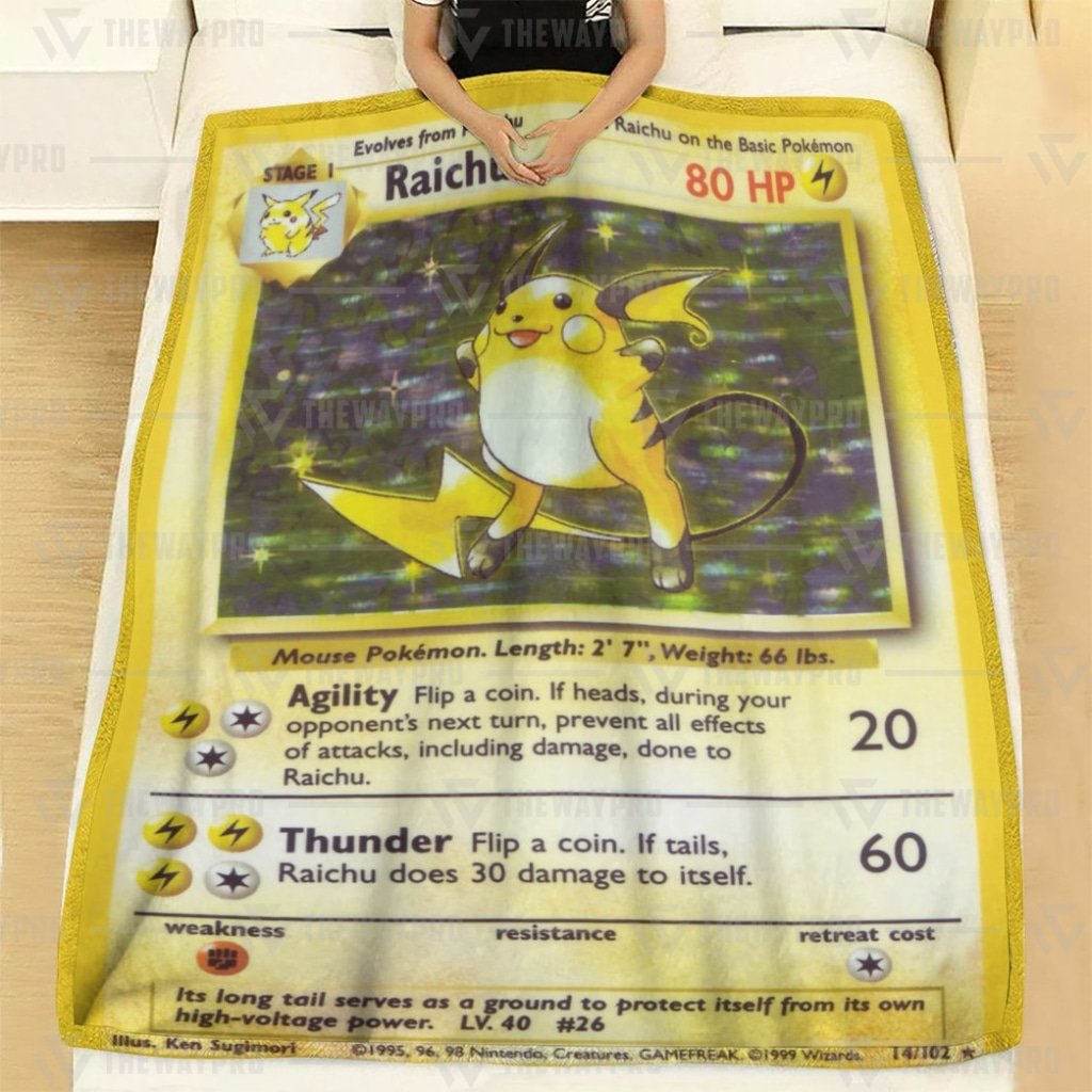 Pokemon Raichu classic Card Fleece Blanket